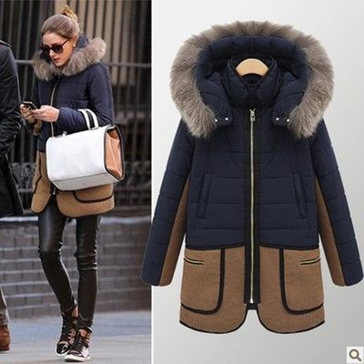 Women's Casual Fashion Mid-Length Thick Fur Collar Quilted Winter ...
