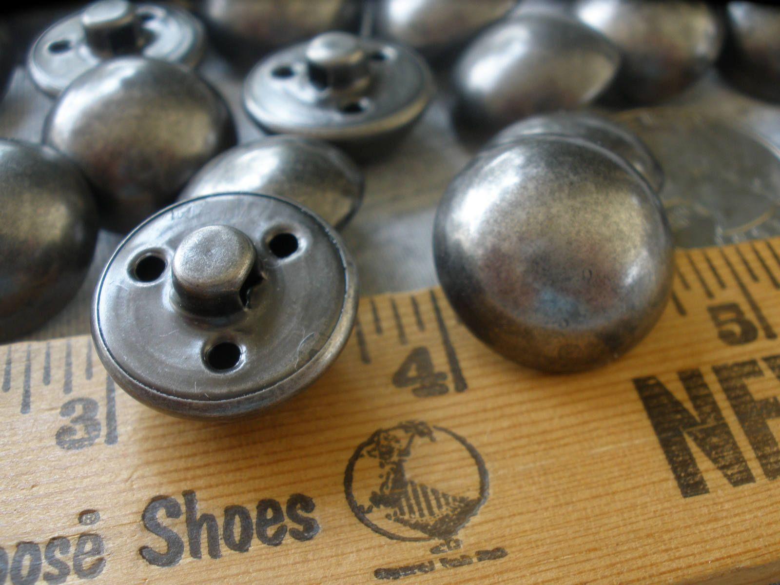 Metal effect Coat /& Jacket Buttons size 19mm diameter 4 holes P Brass colour