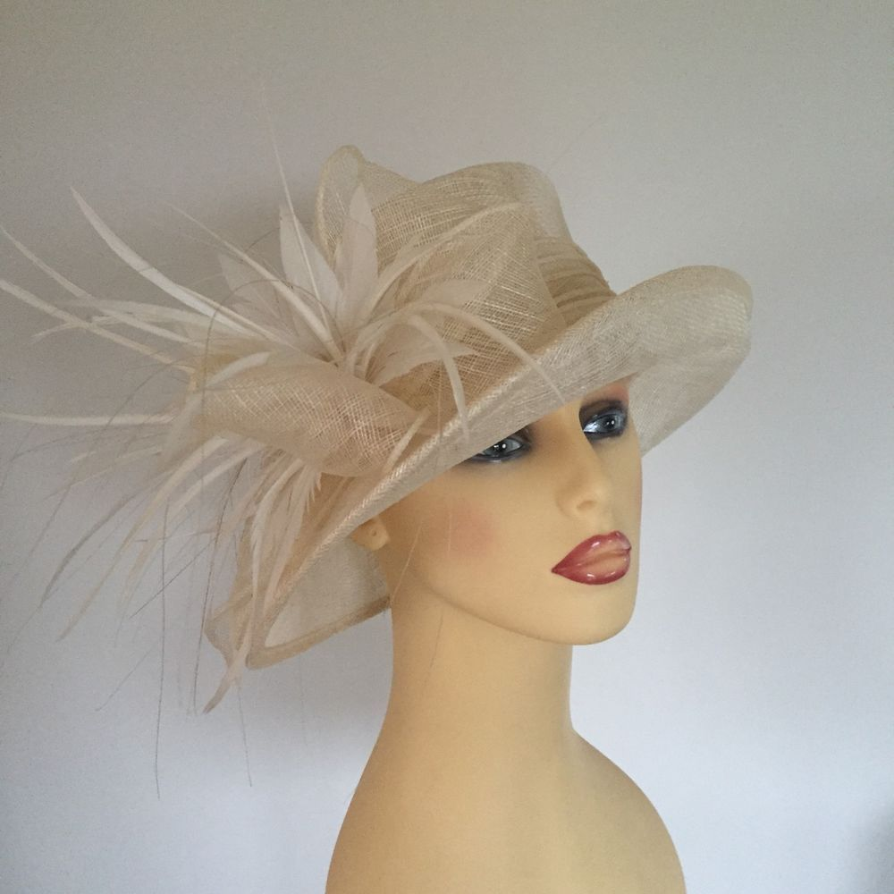 Ladies Wedding Races Mother Bride Races Hat Ivory Cream Feathers By Maddox 589c8d28ab6