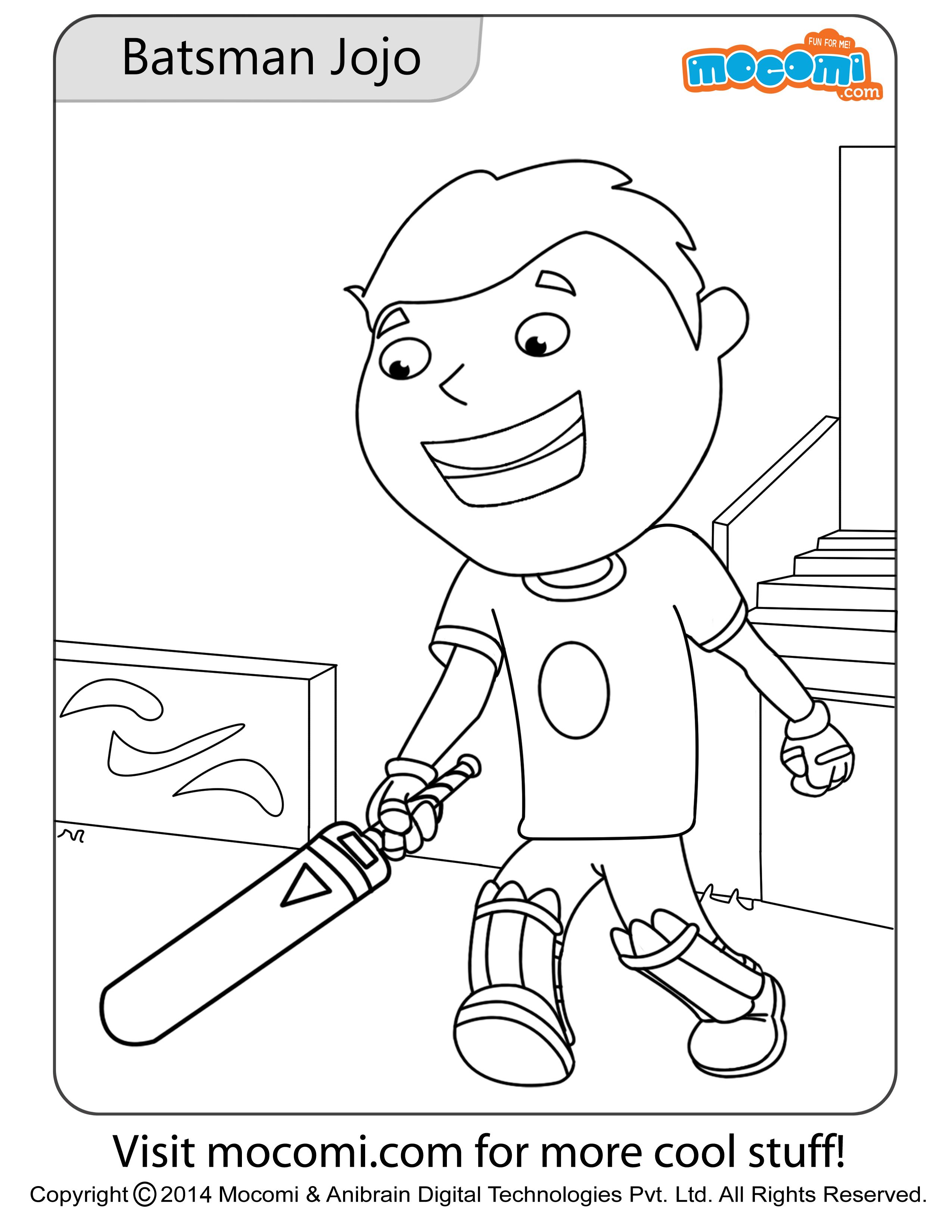 Batsman jojo colouring page colouring pages for kids online