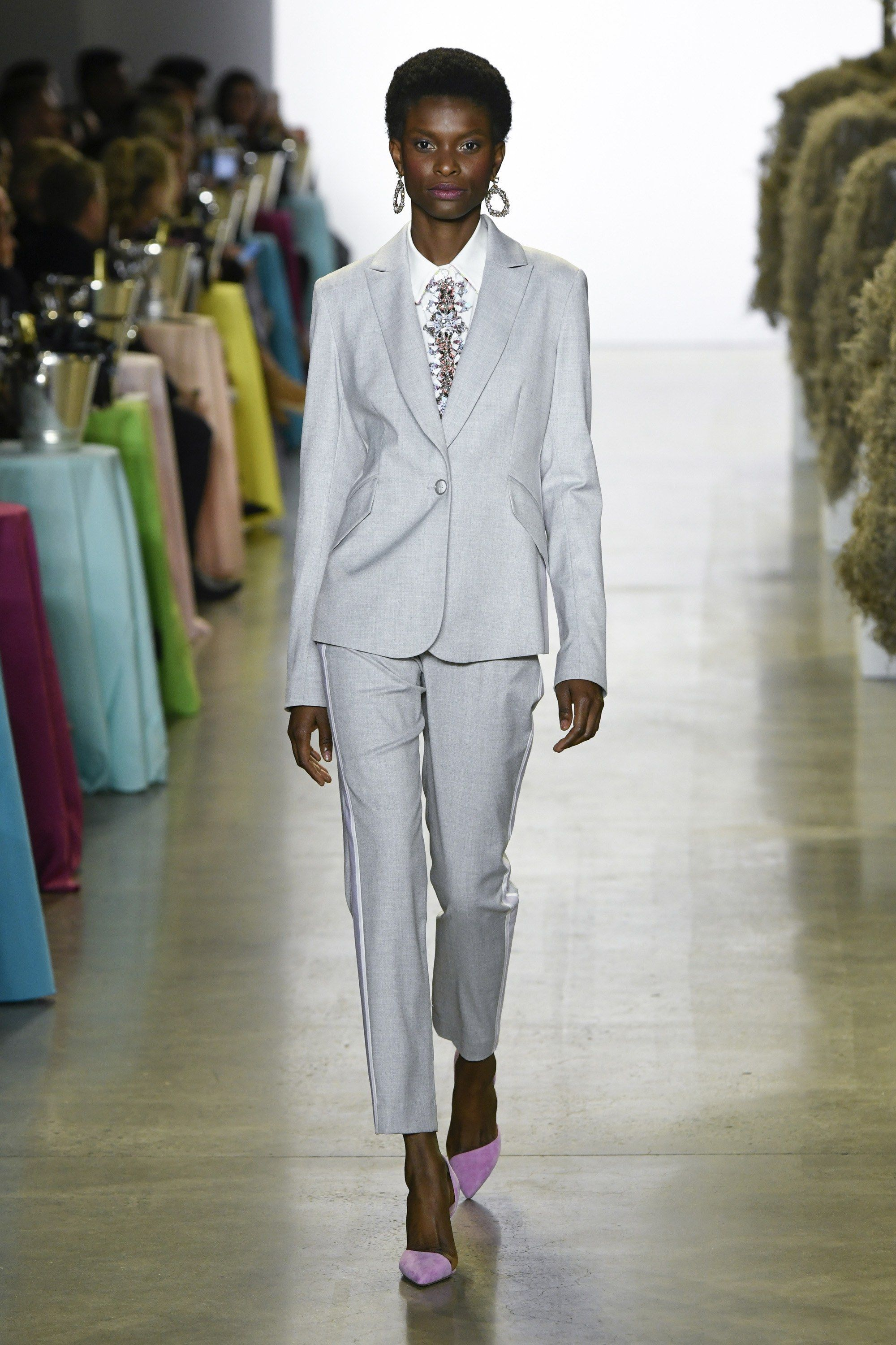 f148bf00a1 Badgley Mischka Gray Suit from New York Fashion Week SS19