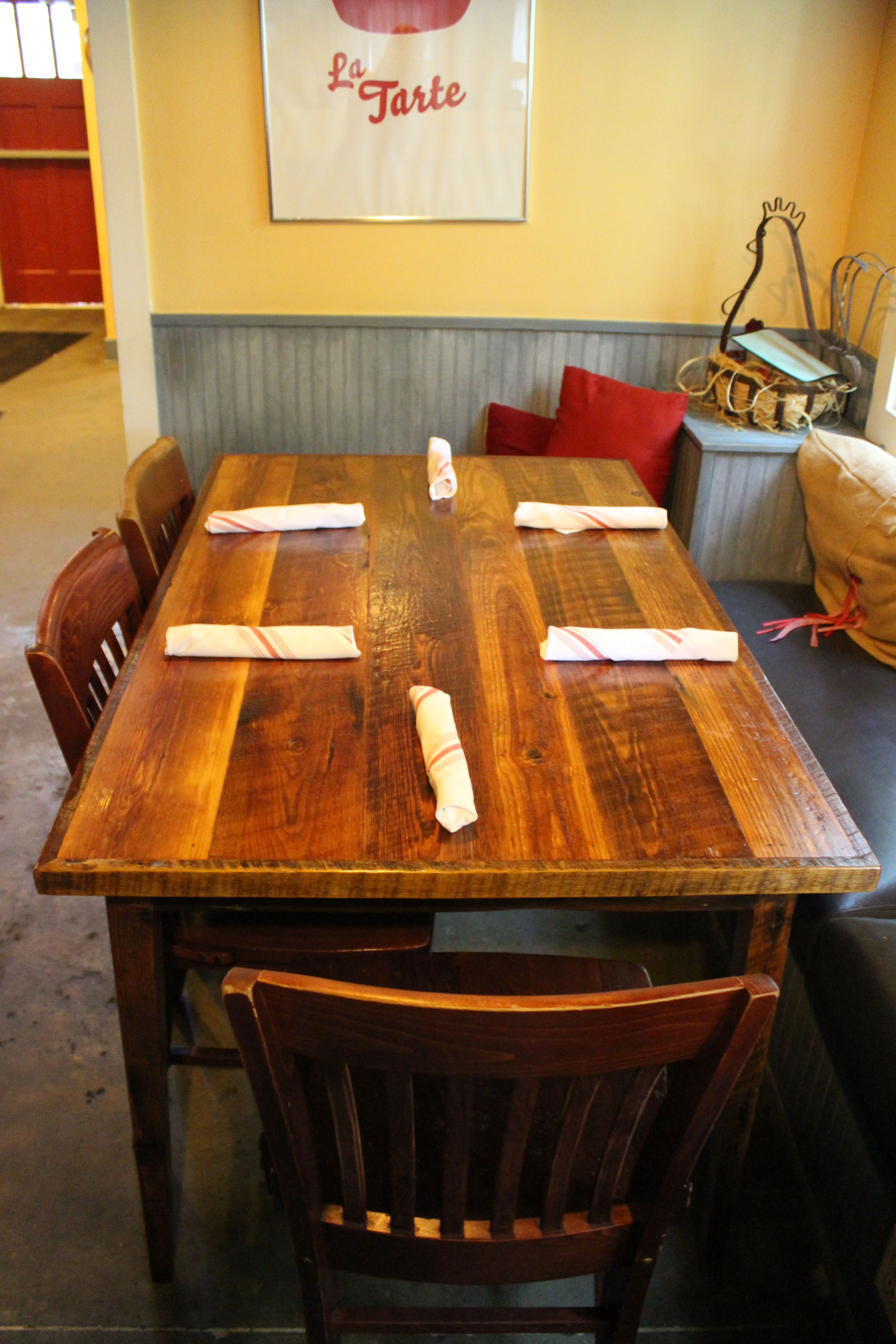 Fat Hen Restaurant In Charleston SC TAble Made From Reclaimed Wood By Landrum Tables