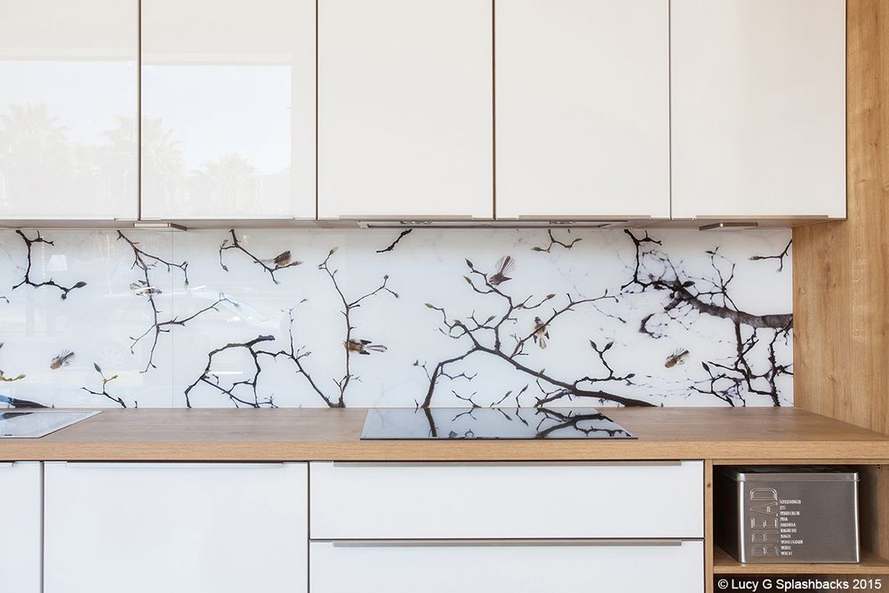 Fantails on blossoms splashback Tinagroo Kitchen Tile Pinterest