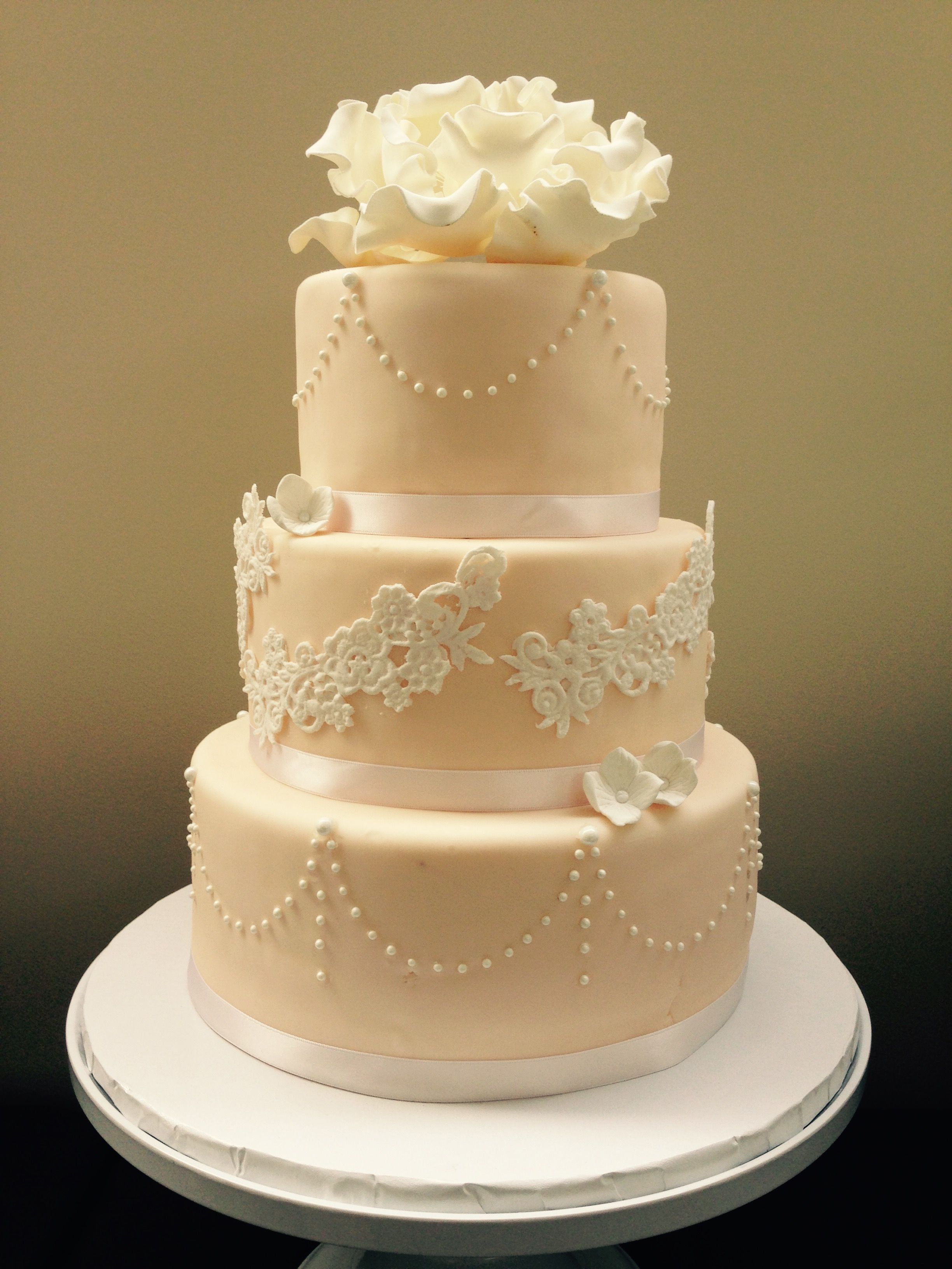 Blush peach with white lace and white pearl design. | Wedding Cakes ...