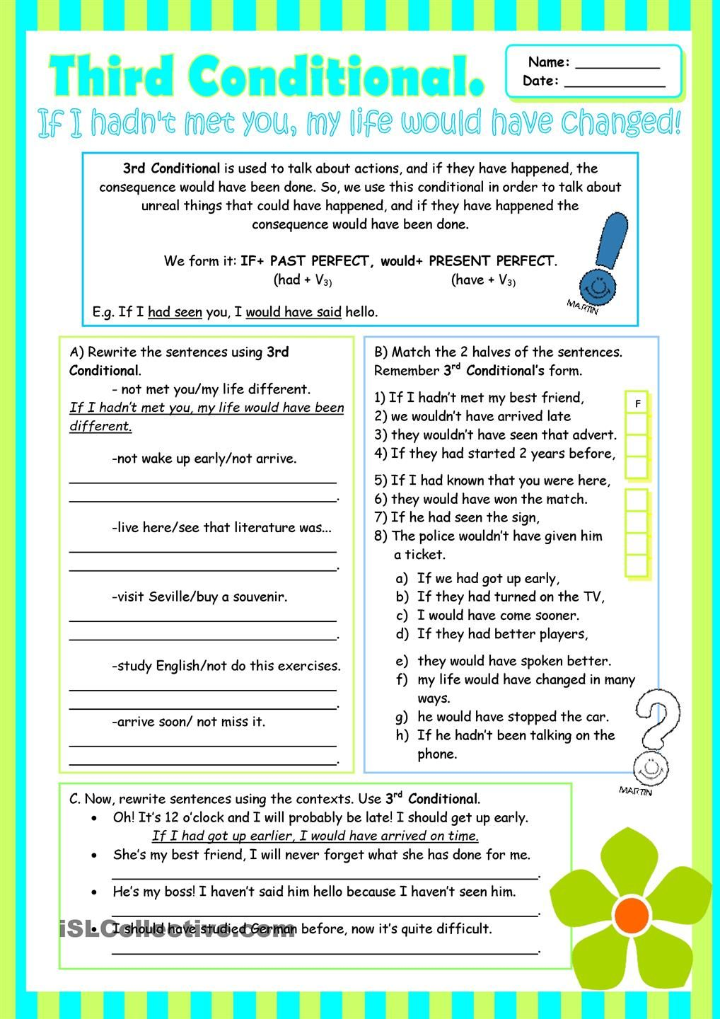 Worksheets Grammar Review Worksheets third conditional grammar review for intermediate students students