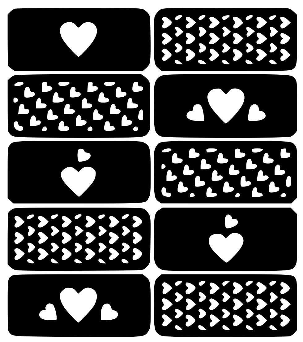 Love Hearts Nail Art Vinyl Decal Sticker Stencil (With