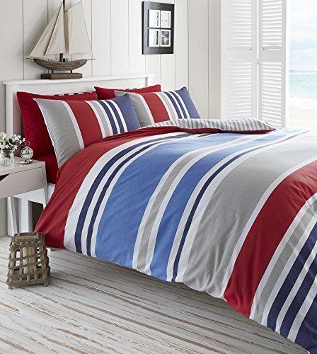 Laguna Duvet Quilt Cover Double Nautical Stripes Bedding Https Www Amazon Com Dp B01mqhs1hc Ref Cm Sw R Pi Dp X C4 Blue Duvet Striped Bedding Red Bedding