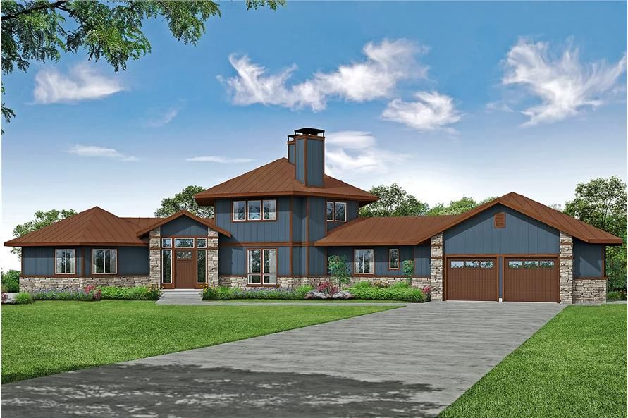 Contemporary Floor Plan 3 Bedrms 4 Baths 3938 Sq Ft Plan 108 1994 Craftsman Style House Plans Mountain House Plans Lodge Style House Plans