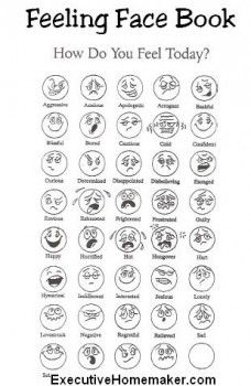 Free Feelings Face Book - Print 4 pages per sheet to create Feelings Go Fish!