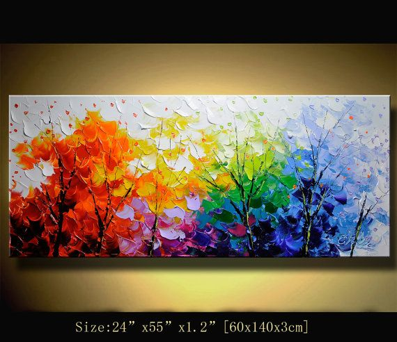 Original Abstract Painting Modern Colorful Abstract Landscape - Pinturas-con-texturas