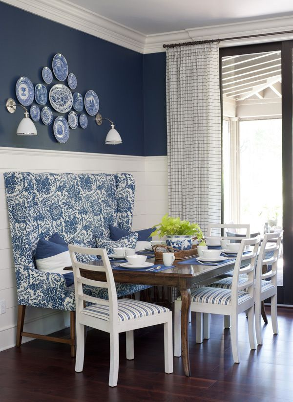 Image Result For Navy Blue And White Walls  Oficina  Pinterest Fascinating Blue White Dining Room Inspiration Design