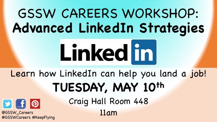 Career workshop tomorrow at GSSW! Learn all about the social media network, LinkedIn! It's fun & easy, and a great networking/career tool! #LinkedIn #socialnetwork #GSSWCareers