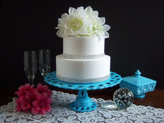 Blue Milk Glass Cake Stand  Westmoreland by RetropolitanHolmes