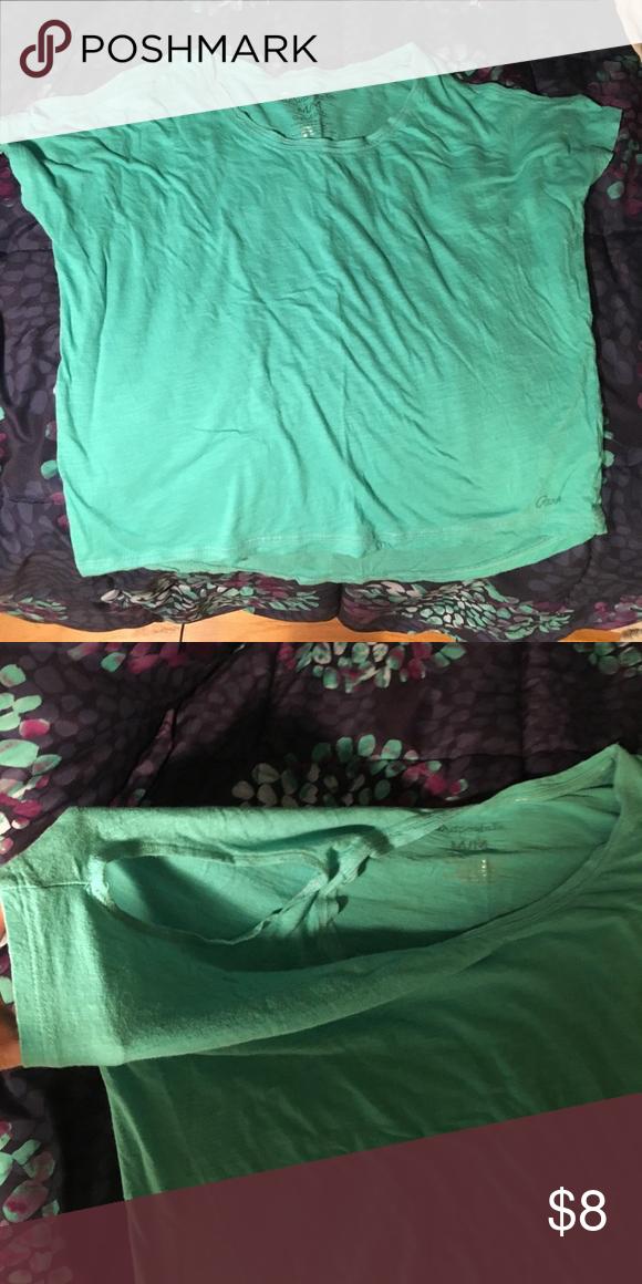 Boxy cold shoulder aqua colored tee Open shoulder and a bright aqua color. No flaws. Aeropostale Tops Tees - Short Sleeve
