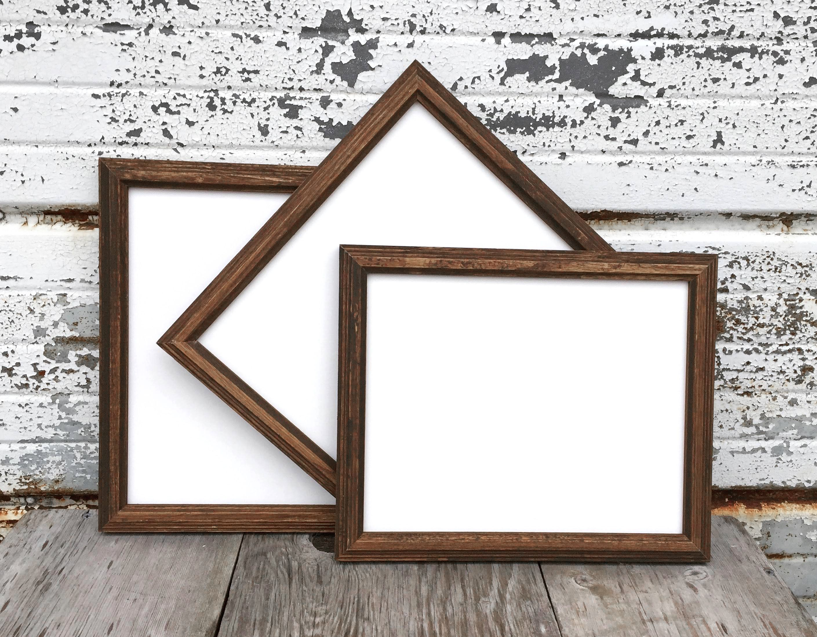 Set Of Three Wooden Picture Frames Rustic Wood Frame You Choose The Size From 5x7 8x10 8 5x11 10x13 Wood Picture Frames Wooden Picture Frames Rustic Wood Frame