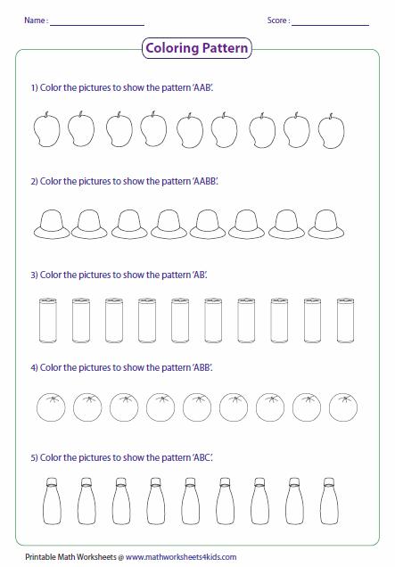 Pattern Worksheets Pattern Worksheet 1st Grade Worksheets Math Worksheets