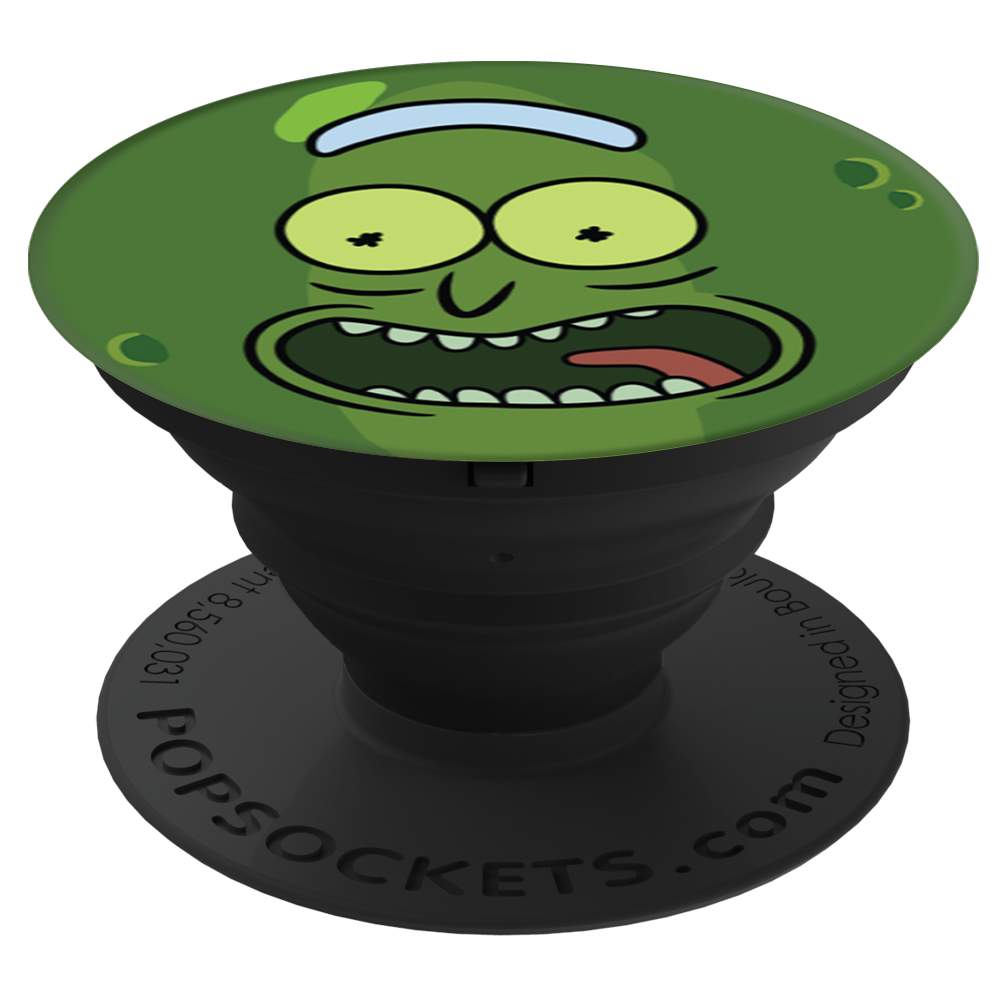 Pickle Rick From Cartoon Networks Rick And Morty Offers A Secure Grip So You Can Text With One Hand Snap Better Photos And Rick And Morty Popsockets Morty