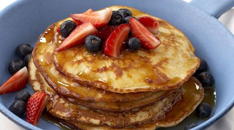 Make your pancakes stand out from the rest with nutritous berries and sweet coconut.