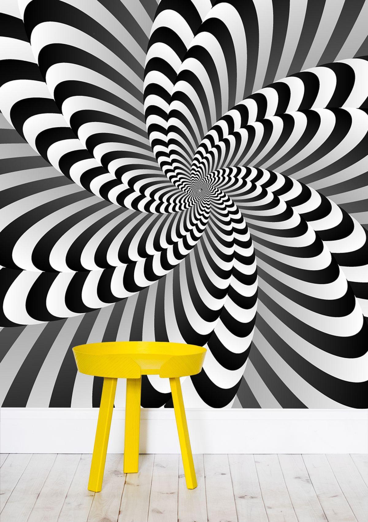 Black white optical illusion wallpaper by rizwana khan rizwanakhan from 53 50 per m² mipic