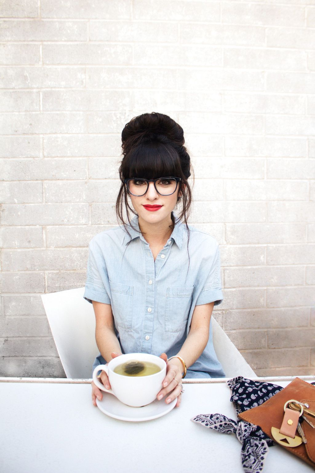 b1e0517b960 New Darlings - Top Knot - Red Lips - Chambray