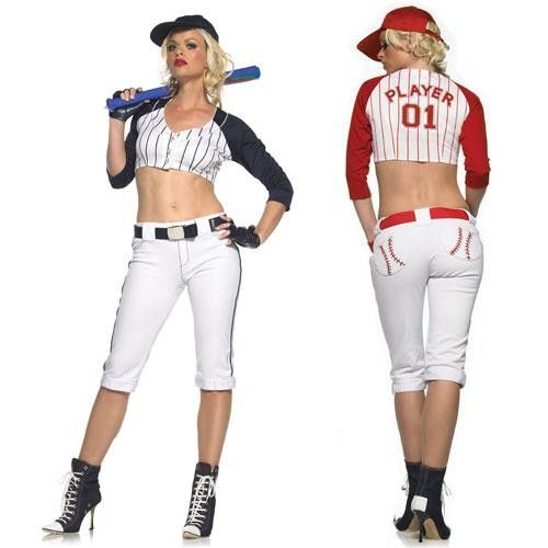 5e3ab53462 WD Lingerie - FANCY DRESS BASEBALL PLAYER COSTUME   LADIES BASE BALL OUTFIT    ADULT SPORTS UNIFORM - SEXY 6 PC BASEBALL PLAYERS COSTUMES