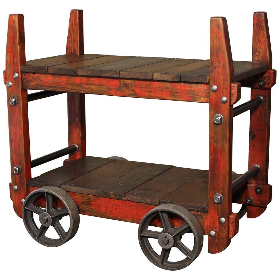 Bar cart rolling wood and metal industrial twotier side