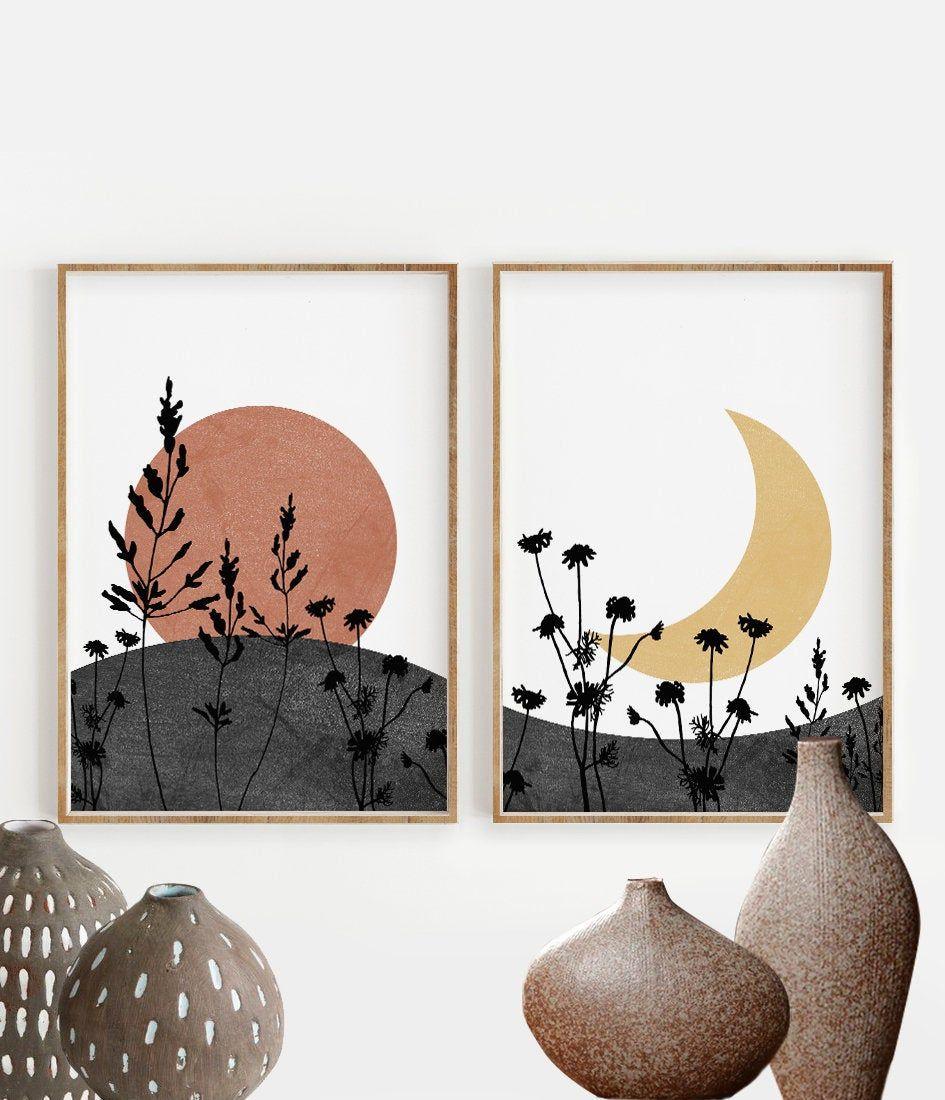 Photo of Boho Sun and Moon Print Set of 2, Abstract Landscape, Wild Flowers desert moon, Minimal wall art, Boho decor, Digital Art, celestial, magic