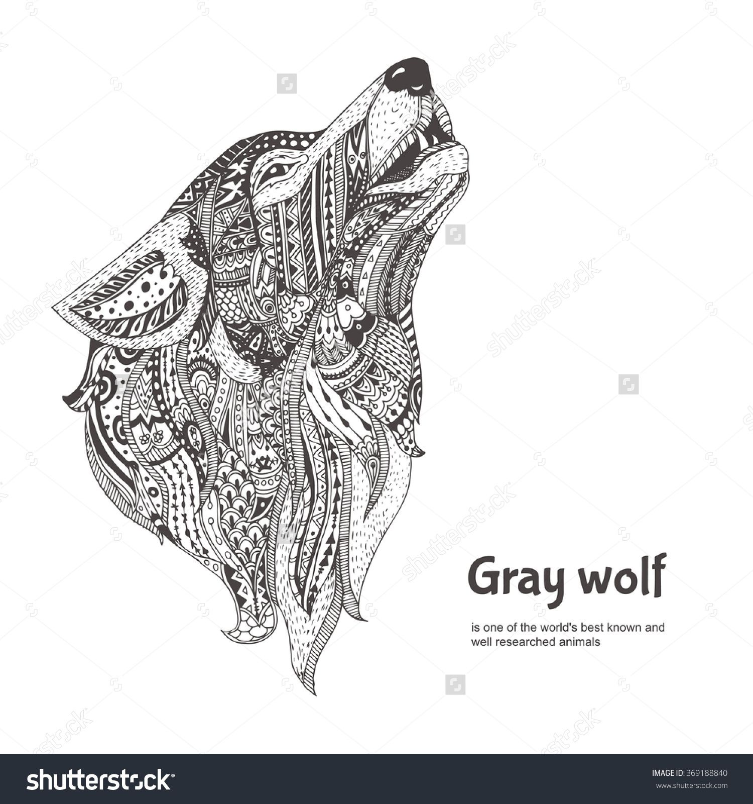 Coloring pages for adults wolf - Hand Drawn Wolf Side View With Ethnic Floral Doodle Pattern Coloring Page Zendala