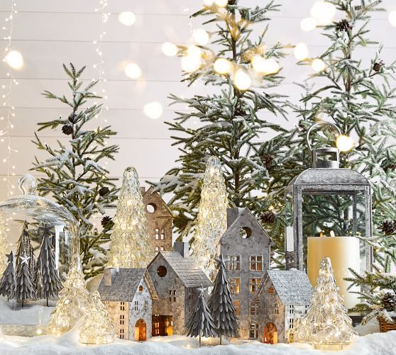 Galvanized Village Houses Holiday Decor Beautiful Christmas Pottery Barn Christmas
