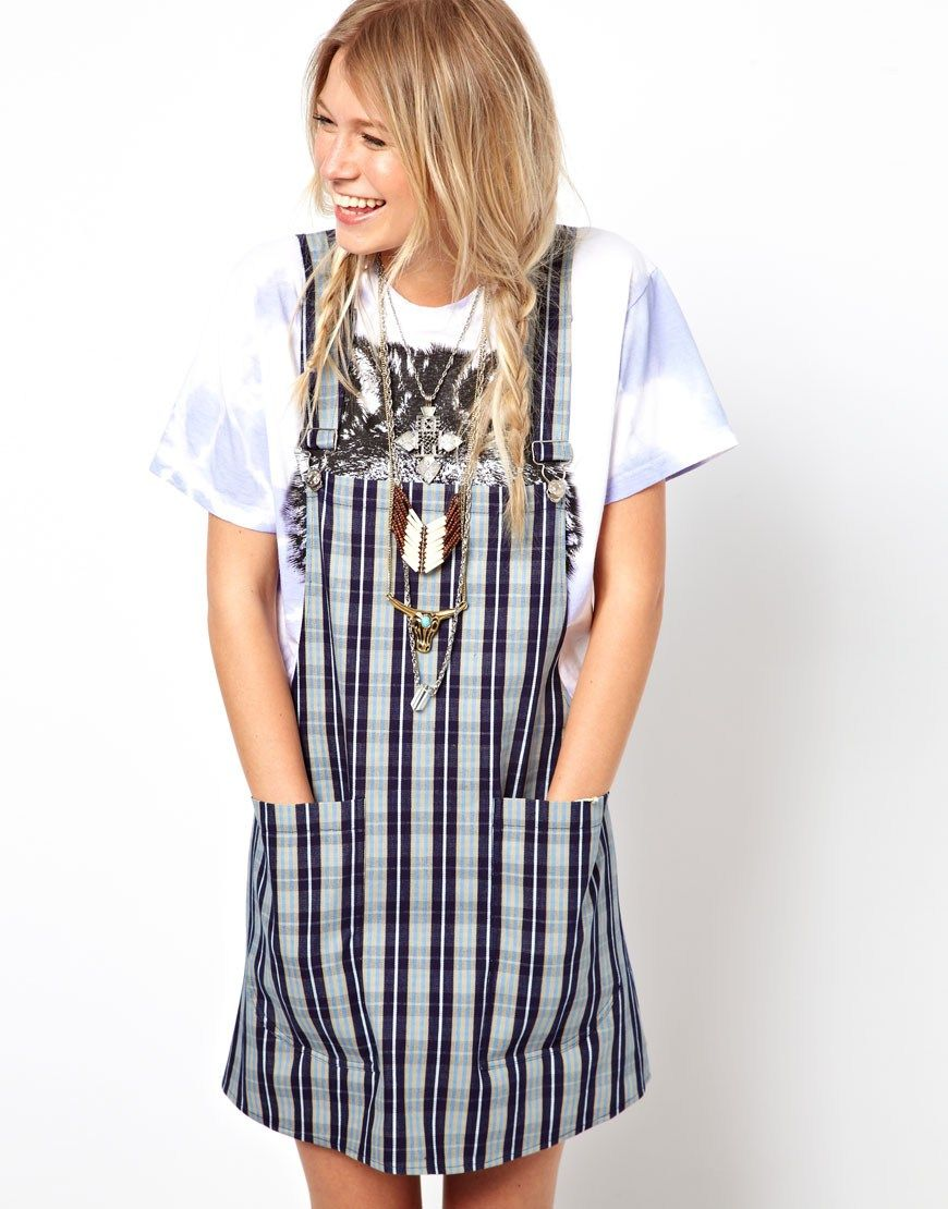 ASOS RECLAIMED VINTAGE Dungaree Dress in Stripe | Style ...