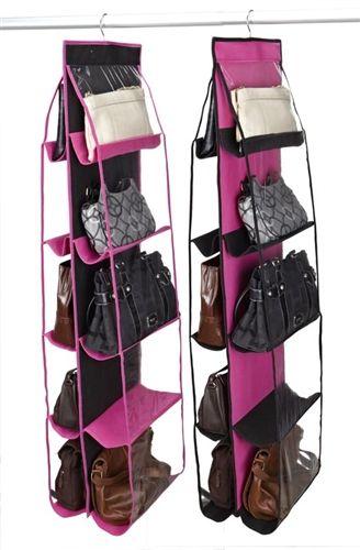 College Closet Essential   10 Shelf Handbag Organizer   Black U0026 Fuschia