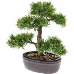 künstlicher Bonsai Cedar Zedernbonsai H. 32cm grün im Keramik Topf Emerald EmeraldEmerald #bonsaiplants