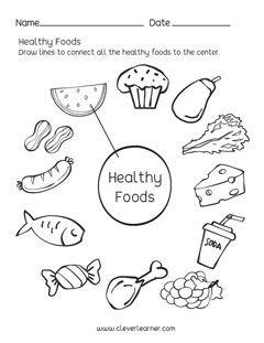 Healthy Foods matching worksheets for preschool
