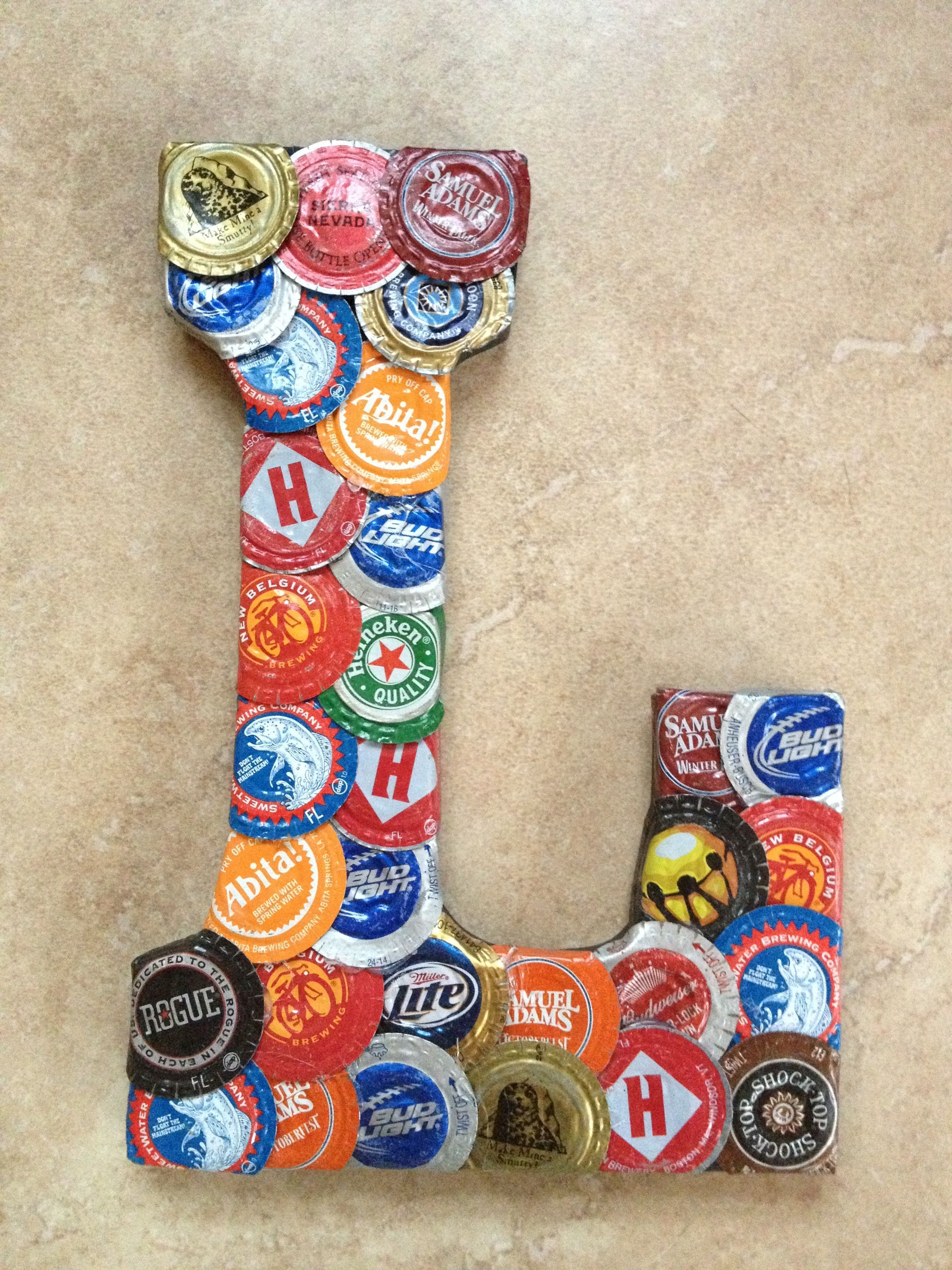 Beer bottle cap letter craft pinterest for Crafts to do with beer bottle caps