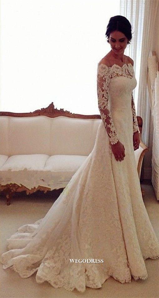 db587c90ed91e Long sleeves chapel train mermaid lace wedding dress