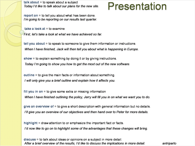 give a presentation on or about