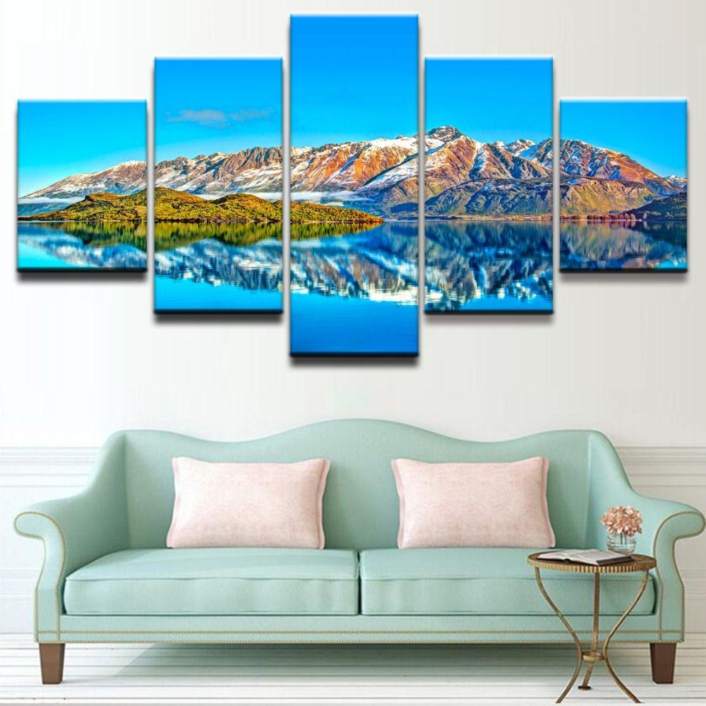 5 panel canvas print azure lake mountain reflection scenic