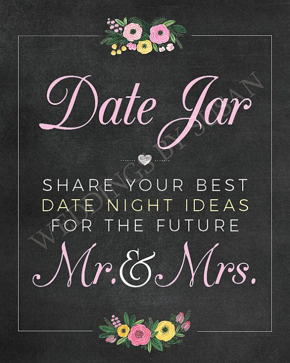 photograph regarding Date Night Jar Printable known as Day Jar 8x10 Printable Marriage ceremony or Bridal Shower Day Night time