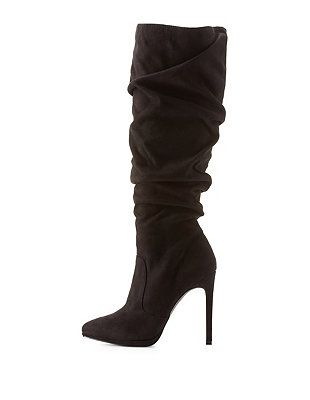 e3717e63f03f Ruched Pointed Toe High Heel Boots  Charlotte Russe