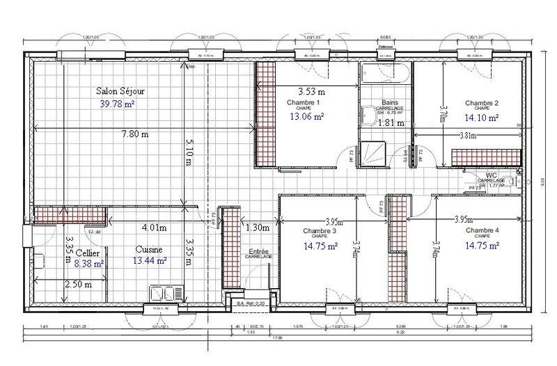 plan de maison 100m2 4 chambres