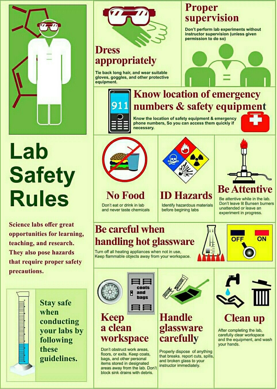Safety Procedures in the Laboratory Lab safety poster