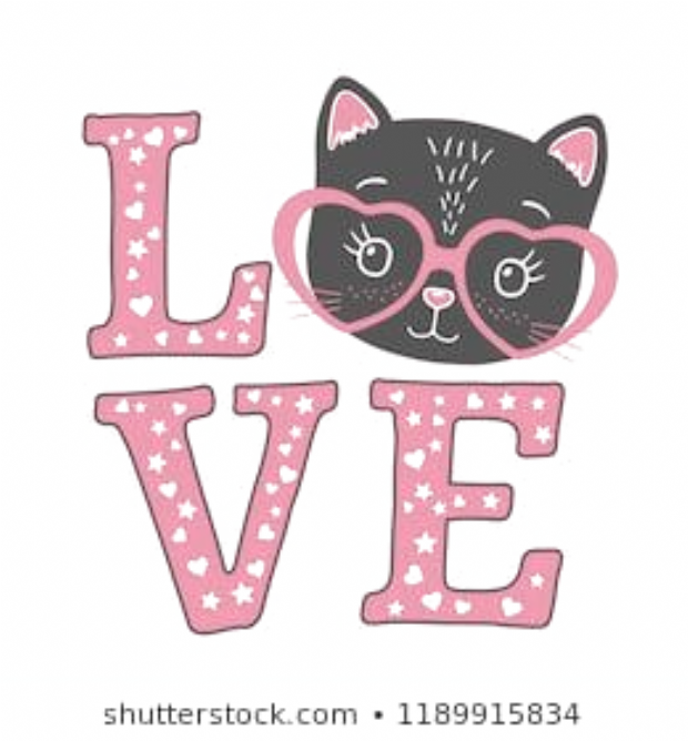 Cute Black Cat Face With Pink Heart Glasses Love Slogan Vector Illustration For Children Print Design Kids T Shirt Bab In 2020 Cat Artwork Cute Black Cats Cat Face