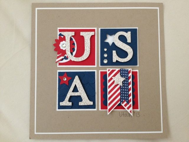 Stampin' Up! ... handmade 4th of July card from Fiona's Crafting ... decorated 2X2 grid of squares ... USA in silver glitter papre ... stars, stripes, and rhinestones ... red, white and navy on a kraft backgroun ... great card!