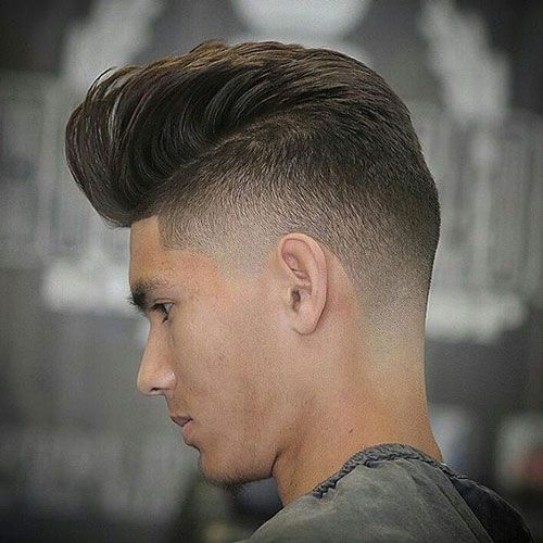 Superior Straight Hairstyles For Men   Pompadour With Low Bald Fade And Line Up