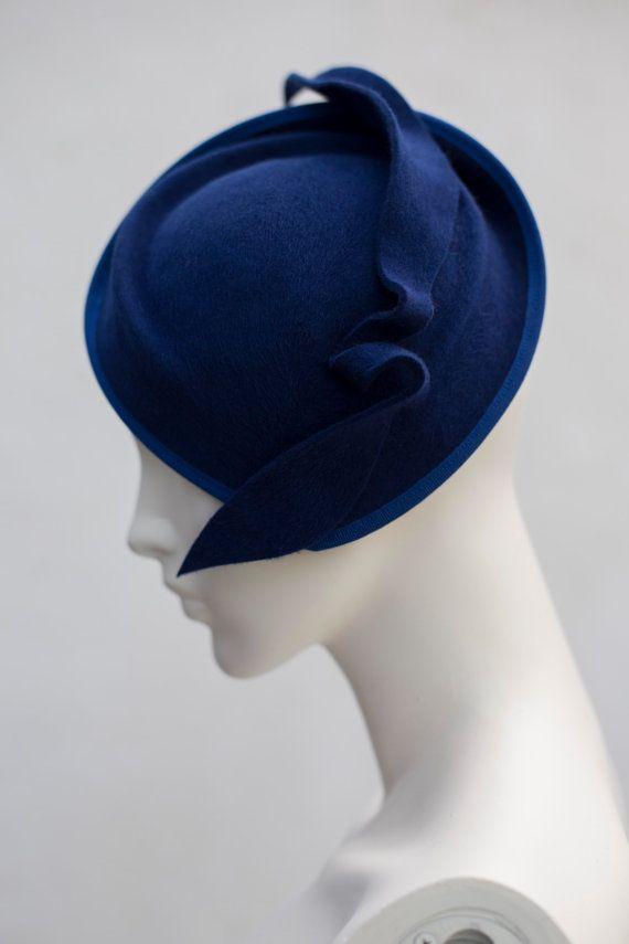 Royal Blue Cocktail Hat Wool Felt Elegant by MaggieMowbrayHats ... 28e0a795523e