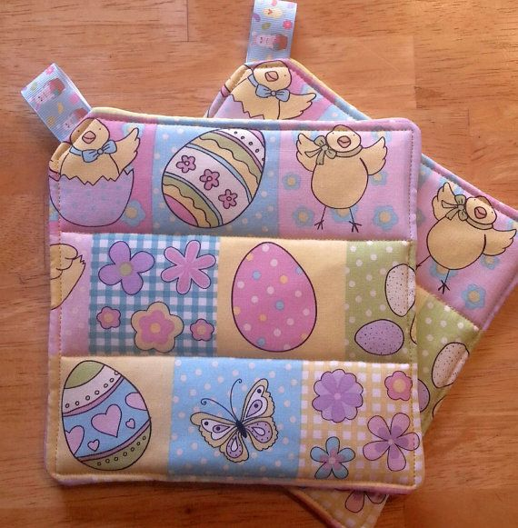 Easter Quilted Potholders Hotpads Set