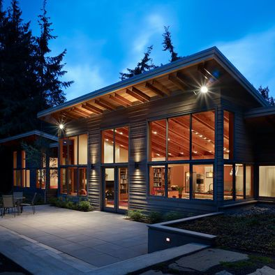 Post And Beam Glass Open Plan And One Level My Type Of House Ecological House Architecture Shed Roof Design