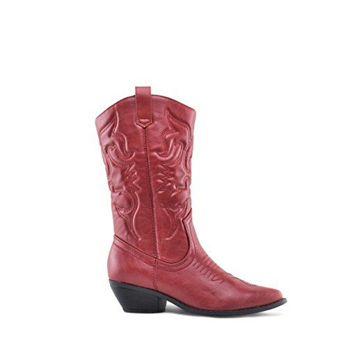 Soda Women/'s Red Reno Western Cowboy Pointed Toe Knee High Pull On Tabs...