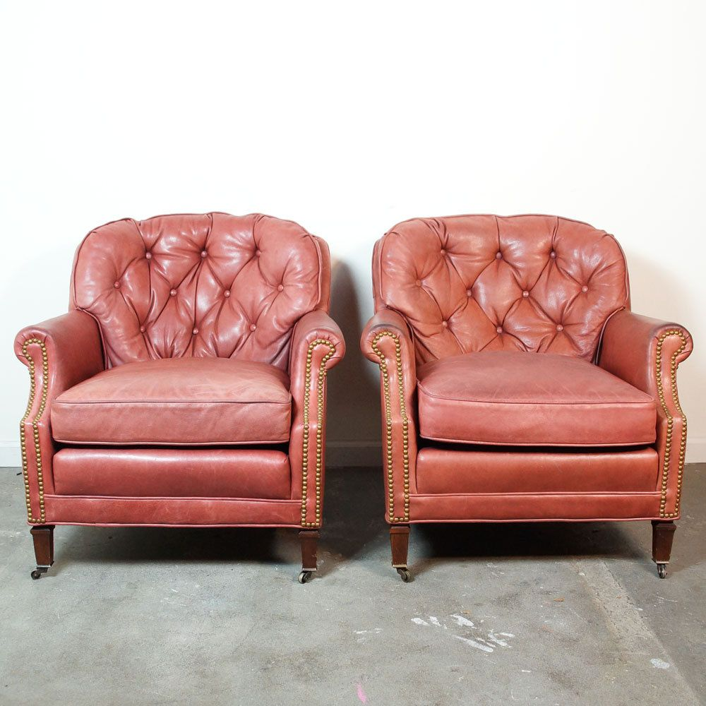 TWO Leather Club Chairs U0026 Ottoman By Century Furniture Company / Vintage  Tufted Leather Library Chairs
