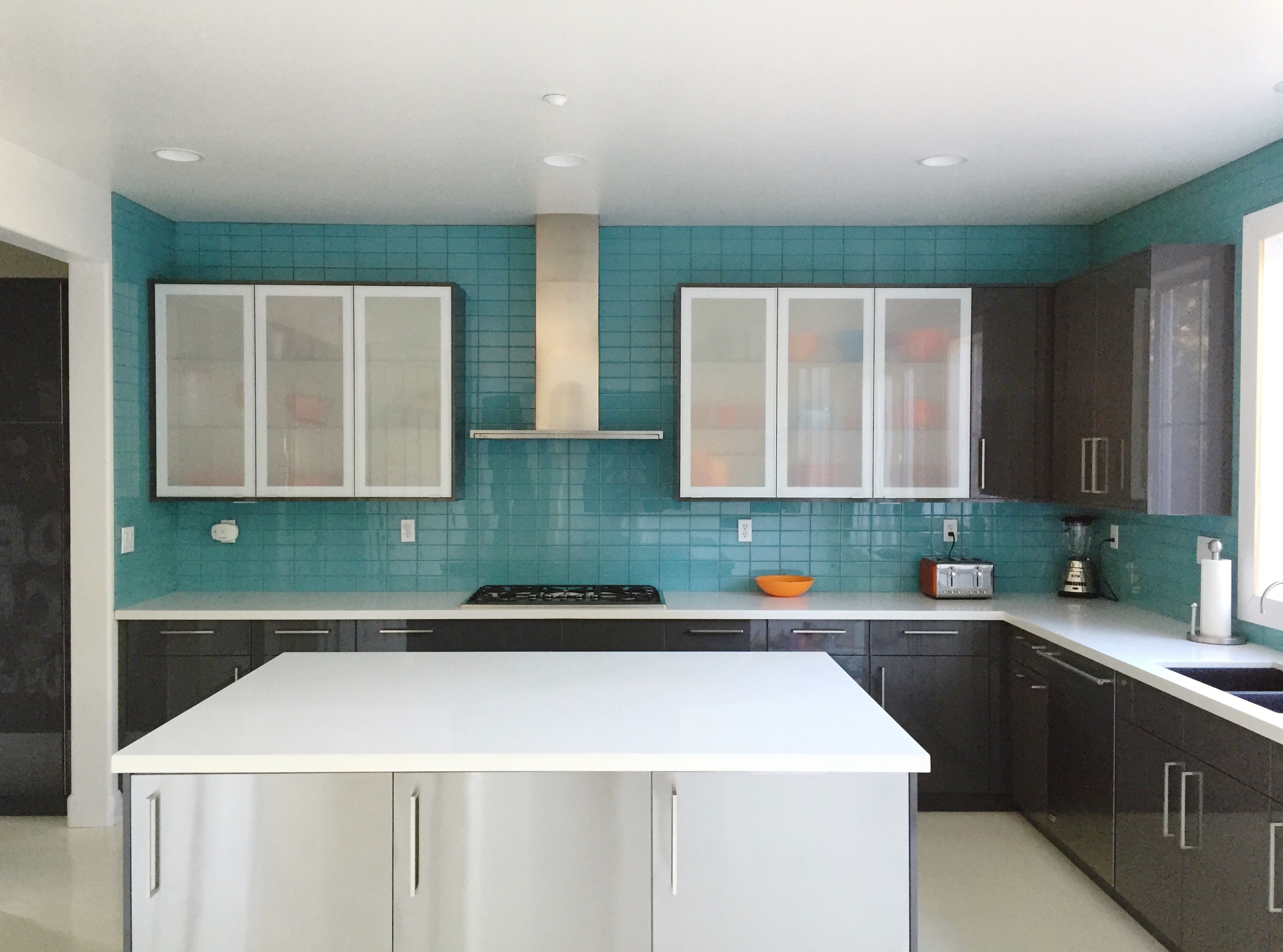 Aqua Glass Subway Tile Modern Kitchen Backsplash Contemporary